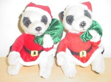 """9"""" Meerkat Soft Toy Dressed In Christmas Suit with Green Sack"""