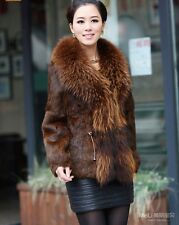 100% Real Genuine Rabbit Fur Huge Raccoon Fur Collar Jacket Coat Outwear Winter