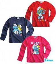 New Girls Smurfs Long Sleeve Tshirt Top Smurf T-Shirt Age 3-10 Years