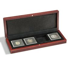 Mahogany Wood Grain Box for 4 Quadrum Coin Capsule Holders from Lighthouse