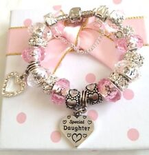 Girls pink silver charm bracelet daughter sister niece granddaughter  Gift box