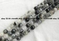 natural Black Rutilated Quartz round faceted Beads 15'' 8mm,10mm,12mm