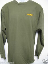 USMC EXPERT GOLD PARACHUTE WINGS LONG SLEEVE T-SHIRT / EMBROIDERED/ MILITARY/NEW