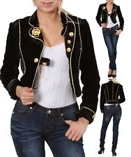 Sexy Velveteen Military Cropped Blazer, Jacket, Gold Detailing, Slim Fit, HOT