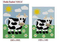 Cow In The Meadow Daisy large or small Crochet Pattern Graph for Afghan Blanket