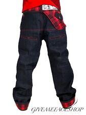 DIRTY MONEY JEANS, TIME IS RED CHECK URBAN DENIM BRANDED DESIGNER LOOSE PANTS