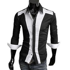 Fantastic Design Mens Casual Slim fit Stylish BLACK WHITE Patched Dress Shirts