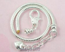 5pcs Snake Chain Lobster Clasp Silver Charm Bracelets Fit European Beads L13
