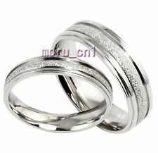 Classic Frosted Matching Wedding Bands Titanium Couple Ring Set Valentine