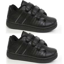 BOYS BLACK SCHOOL SHOES KIDS GIRLS SKATE TRAINERS BACK TO SCHOOL SIZE 8-3