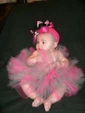 NEW GIRLS INFANTS SPRING BOUTIQUE PINK SILVER TUTU BABY SHOWER GIFT PHOTO PROPS