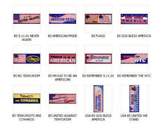 12 NEW PATRIOTIC USA 4TH OF JULY BUMPER STICKERS REMEMBER 9-11-01 YOU PICK ONE