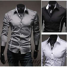 US CC6079 New Mens Fashion Luxury Casual Slim Fit Stylish Dress Shirts 3 Colors