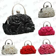 SATIN ROSE BOUQUET DIAMANTE CRYSTAL PATTERN EVENING CLUTCH BAG