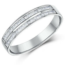 9ct White Gold Ring 1/4 Carat Channel Set Eternity Double Row Diamond Wedding