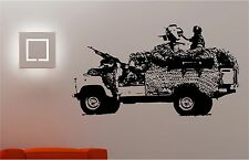 Army Jeep soldier wall art sticker bedroom Kids Childrens decal