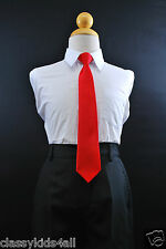 Solid Colors Satin Clip On Long Neck Tie Red matching Boys Suit Size 8 10 12 14