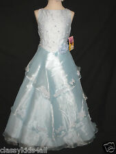 Children Teen Girl Pageant Party Prom Easter Formal Blue Dress Sz 4 6 10 12 14