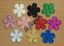 "U PICK COLOR~ 1-3/8"" Padded Glitter Flower Appliques Headbands x 50 pcs #2363"