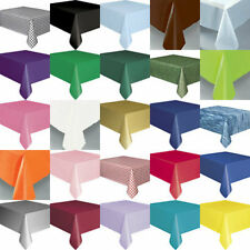 PLASTIC TABLECOVER TABLECLOTHS OVER 20 COLOURS ROUND OBLONG OR SKIRTS  FROM 99P