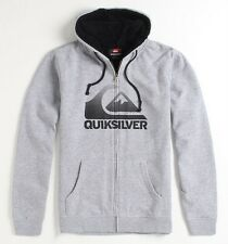 Quiksilver Mens Sherpa Heather Gray Zip Hoodie Sweatshirt Jacket New NWT