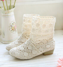 Summer Lady Knitting Knitted Flat Knee High Casual Sandals Ankle Boots Shoes