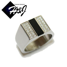 MEN's Stainless Steel Black Onyx & Silver 0.85 Carat CZ Iced Out Ring Size 8-13