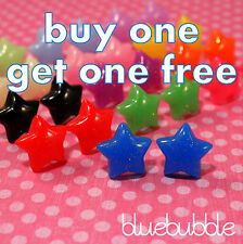 ♥ FUNKY SMALL SPARKLY STAR EARRINGS CUTE KITSCH RETRO ROCK EMO KAWAII FASHION ♥