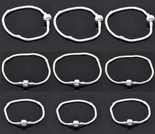 4 Silver Plated Snake Chain Bracelets Fit Charm Beads M0359