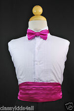 Wedding Party FUCHSIA CUMMERBUND CUMBERBAND + BOW TIE Children Teen Tuxedo Suit