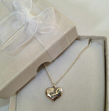 Maid of Honour diamante  Heart Charm wedding Necklace GIFT BOXED