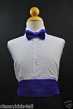 Wedding Party PURPLE CUMMERBUND CUMBERBAND + BOW TIE Boys Children Tuxedo Suit