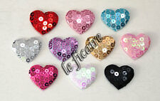 "U PICK ~ 1-3/8"" Padded Satin Sequin Heart Appliques Valentine's x 60 pcs #2551"