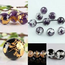 Black Agate Amethyst Rock Crystal Quartz Carved Dragon Stone Ball Loose Beads