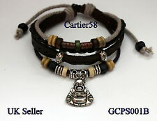 Leather Adjustable Bracelet with Tibetan Silver/Antique Bronze Buddha and Bead