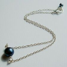 Sterling Silver Anklet Ankle Bracelet Freshwater Pearl Deep Purple Peacock Charm