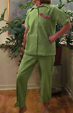 PJ's Capri Loungers Made in USA S - 3XL 100% Cotton - Seersucker Check