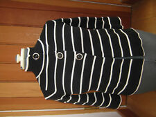 MARKS AND SPENCERS SMART BLACK CREAM STRIPED CARDIGAN JACKET 8 NAUTICAL BNWT