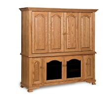 Amish TV Entertainment Center Armoire Solid Oak Wood Media Hutch Cabinet Storage