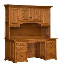 """Amish 70"""" Executive Computer Desk Hutch Home Office Solid Wood Oak Maple Rustic"""
