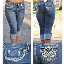 Capri Jeans by LA Idol with rhinestones Size 0-1 FAST-FREE SHIPPING 1103CP