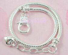 10pcs Snake Chain Lobster Clasp Silver /P Charm Bracelets Fit European Bead L13