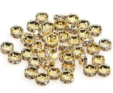 100pcs Golden Clear Crystal Rhinestone Rondelle Loose Spacer European Beads 6mm