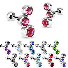 EJ *** HELIX TRAGUS PIERCING BARBELL BUBBLE 3 KRISTALLE Farbwahl aus 10 FARBEN