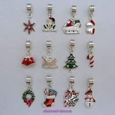 1, 4 or 10 x Silver Plated Enamel Christmas Dangle Bead Charms on Bail or Clips