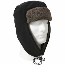 Cold Weather Sherpa Lined Polar Fleece Flyers Aviators Trappers Hat - BLACK