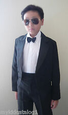 KCB NEW WEDDING BLACK  BOY TUXEDO w/ TAIL   CUMMERBUND BOY SUIT PIANO RECITAL