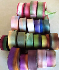 "SILK 1"" RIBBON on the BIAS HANAH Made in USA 1yd Embroidery Ribbon Flowers"