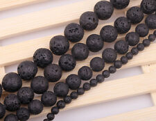 10-50PCS Fashion Black Lava Rock Spacer Beads Strand 6mm 8mm 10mm 12mm 14mm 16mm