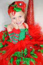 NEW Christmas red green feather tutu dress hair-bow arm-warmers kids young girl